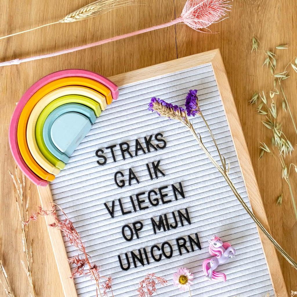 teksten voor een regenboog en unicorn kamer